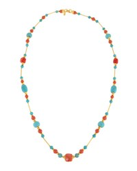 Jose And Maria Barrera Long Reconstituted Turquoise Coral Beaded Necklace No Color
