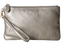 Mighty Purse Cow Leather Charging Wristlet Grey Shimmer Handbags Gray