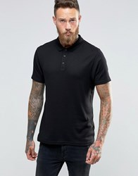 Asos Muscle Lightweight Ribbed Polo Shirt With Roll Sleeve In Black Black