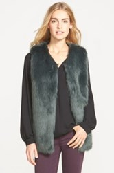 Laundry By Design Faux Fur Vest Green