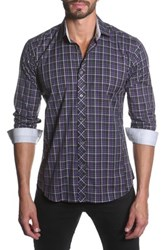 Jared Lang Long Sleeve Tartan Print Semi Fitted Shirt