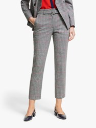 Boden Malden Tweed Belted Trousers Grey