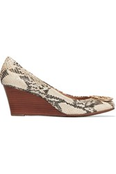 Tory Burch Sally Snake Effect Leather Wedge Pumps Snake Print
