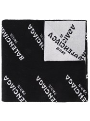 Balenciaga Monogram Logo Scarf Women Polyamide Virgin Wool One Size Black