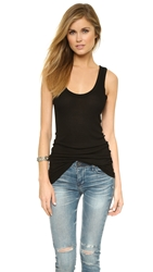 Enza Costa Bold Ribbed Tank Black