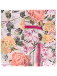 Dolce And Gabbana Rose Pink Print Scarf