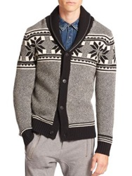 The Kooples Leather Trimmed Wool Fair Isle Cardigan Black White