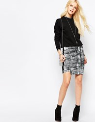 Religion Attraction Mini Skirt Trance Print Black