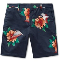 Paul Smith Printed Cotton Blend Satin Shorts Blue