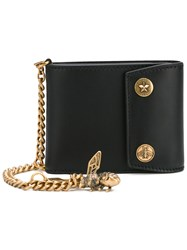 Gucci Chain And Bee Wallet Men Calf Leather Brass One Size Black