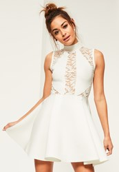 Missguided White High Neck Lace Panel Scuba Skater Dress