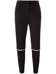 Dkny Tapered Pinstripe Trousers Black