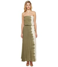 Culture Phit Essence Strapless Tie Dye Maxi Dress With Slit Olive Women's Dress