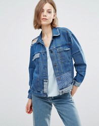 Waven Karin Patchwork Boyfriend Denim Jacket Brand Blue