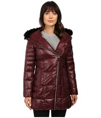 Marc New York Jillian 32 Laquer Puffer Faux Fur Coat Burgundy Women's Coat