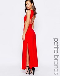 Lipstick Boutique Petite Maxi Dress With Open Back Red