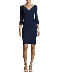 La Petite Robe Di Chiara Boni Emertiene 3 4 Sleeve Wrap Style Cocktail Dress Navy Navy 743