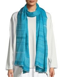 Eskandar Two Tone Open Weave Hand Woven Cashmere Scarf Turquoise