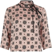 River Island Womens Pink Print Tied Neck Satin Blouse