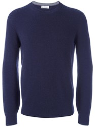Brunello Cucinelli Ribbed Crew Neck Jumper Blue