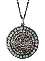 Andrea Fohrman Circle Locket Necklace Metallic