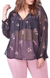 Michel Studio Plus Size Women's Sheer Floral Print Blouse
