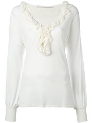 Ermanno Scervino Ruffled Neck Knitted Blouse Women Polyamide Polyester Viscose 44 Nude Neutrals