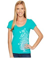 Life Is Good Garden Pose Smooth Tee Bright Teal Women's T Shirt Blue