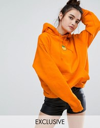 Adolescent Clothing Oversized Hoodie With Peach Embroidered Patch Peach Orange