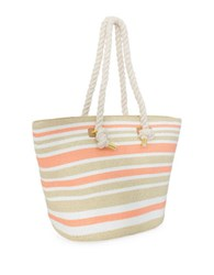 Magid Striped Natural Paper Straw Tote Coral Metallic