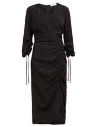 Altuzarra Orianna Striped Gathered Seersucker Dress Black