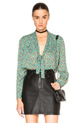 Saint Laurent Floral Print Scarf Blouse In Floral Green