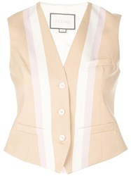 Alexis Fitted Striped Vest Brown