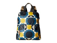 Orla Kiely Matt Laminated Scallop Flower Spot Backpack Tote Denim Backpack Bags Blue