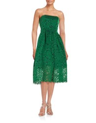 Vera Wang Strapless Lace Dress Green