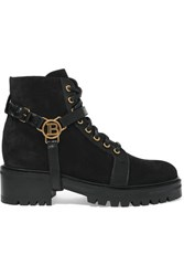 Balmain Ranger Leather Trimmed Suede Ankle Boots Black