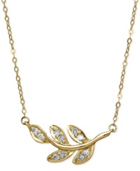 Macy's Diamond Leaf Pendant Necklace 1 10 Ct. T.W. In 10K Gold