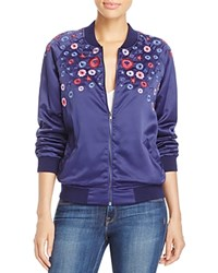 Aqua Floral Embroidered Bomber Jacket Navy