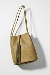 Anthropologie Tassel Tote Bag Moss