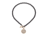 Guess Toggle Necklace With Stone Logo Disc Gold Matte Jet Crystal Necklace Black