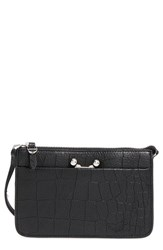 Etienne Aigner 'Paley' Croc Embossed Leather Crossbody Bag Black Black Moto Croco