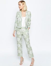Asos Occasion Jacquard Crop Trouser Co Ord Mint Green