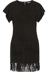 Rebecca Minkoff Saturn Fringed Suede Mini Dress Black