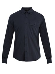 Belstaff Steadway Single Cuff Stretch Cotton Shirt Navy