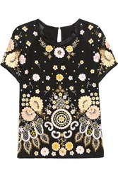 Needle And Thread Embellished Embroidered Crepe Top Black