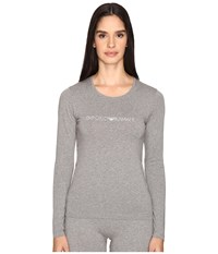 Emporio Armani Visibility Stretch Cotton Long Sleeve T Shirt Dark Grey Melange