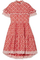 Ulla Johnson Leonie Broderie Anglaise Trimmed Floral Print Cotton Poplin Dress Red