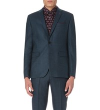 Ted Baker Micro Patterned Wool Blend Blazer Teal