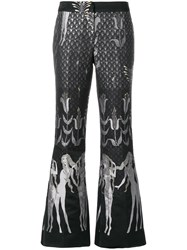 Giamba Flared Jacquard Trousers Polyester Black