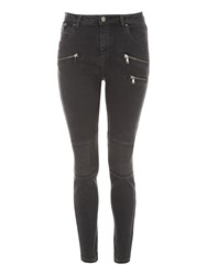 Jane Norman Moto Skinny Jeans Charcoal